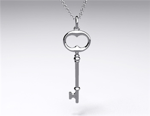 18k White Gold Classic Key Pendant (Large)